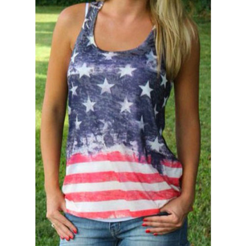 Soft USA Flag Print Tank Top for Women