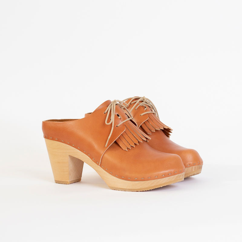 Millie Lace-Up Clog with Kilt, High Heel