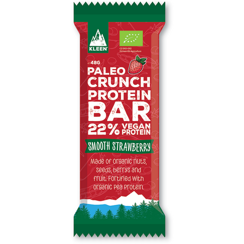 KLEEN Paleo Crunch Protein Bar Smooth Strawberry (Låda med 12bars)