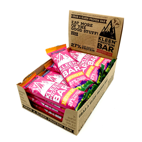 KLEEN Protein Bar - Raspberry Cave (låda 16 bars)