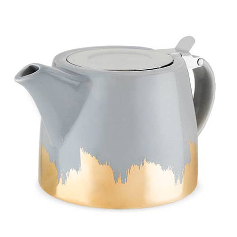 Harper Grey and Gold Brushed Ceramic Teapot & Infuser by Pinky Up
