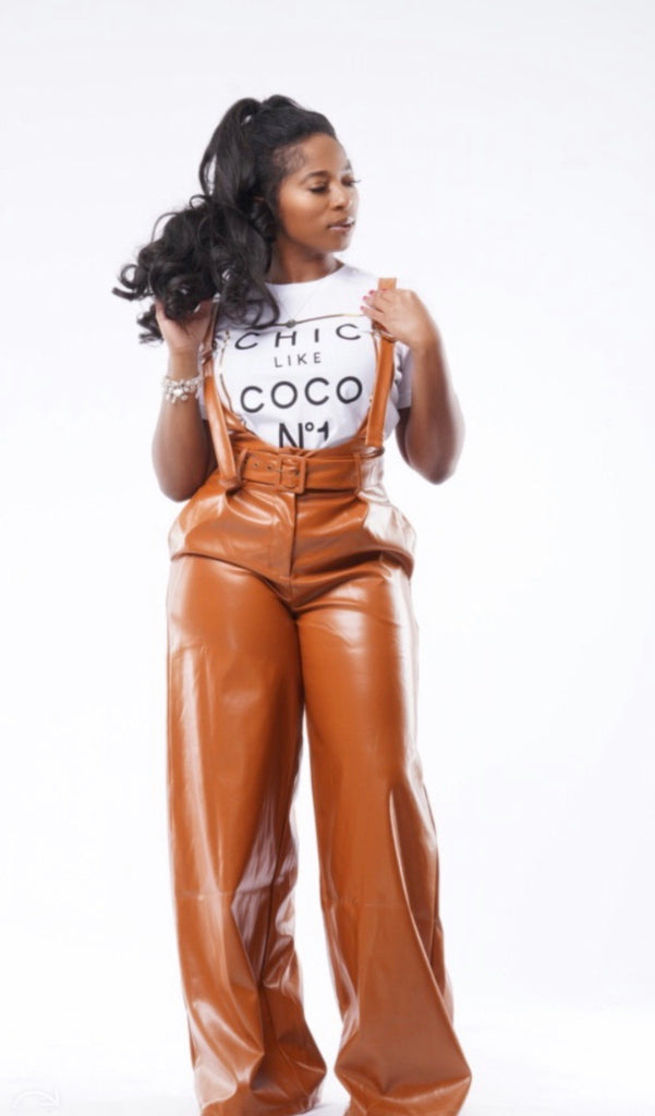 Peanut butter leather Trousers