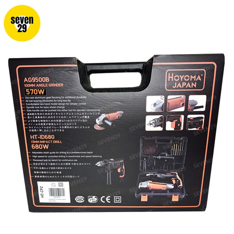 Hoyoma Japan  570W Angle Grinder & 680W Impact Drill  COMBO PACK