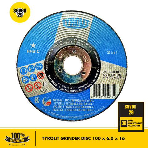 Original Tyrolit Grinder Disc 100 x 6 x 16mm - seven29shop