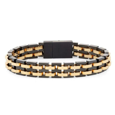 black and gold mens bracelet
