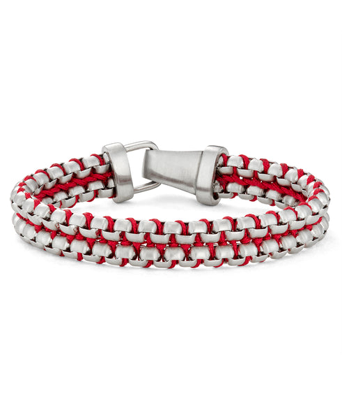 steel and red paracord bracelet