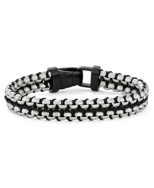 steel and black paracord bracelet