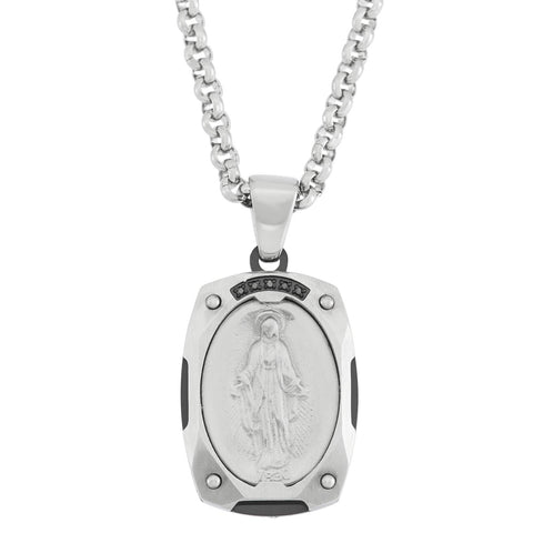 ARBOR / miraculous medal / 22mm / black diamond