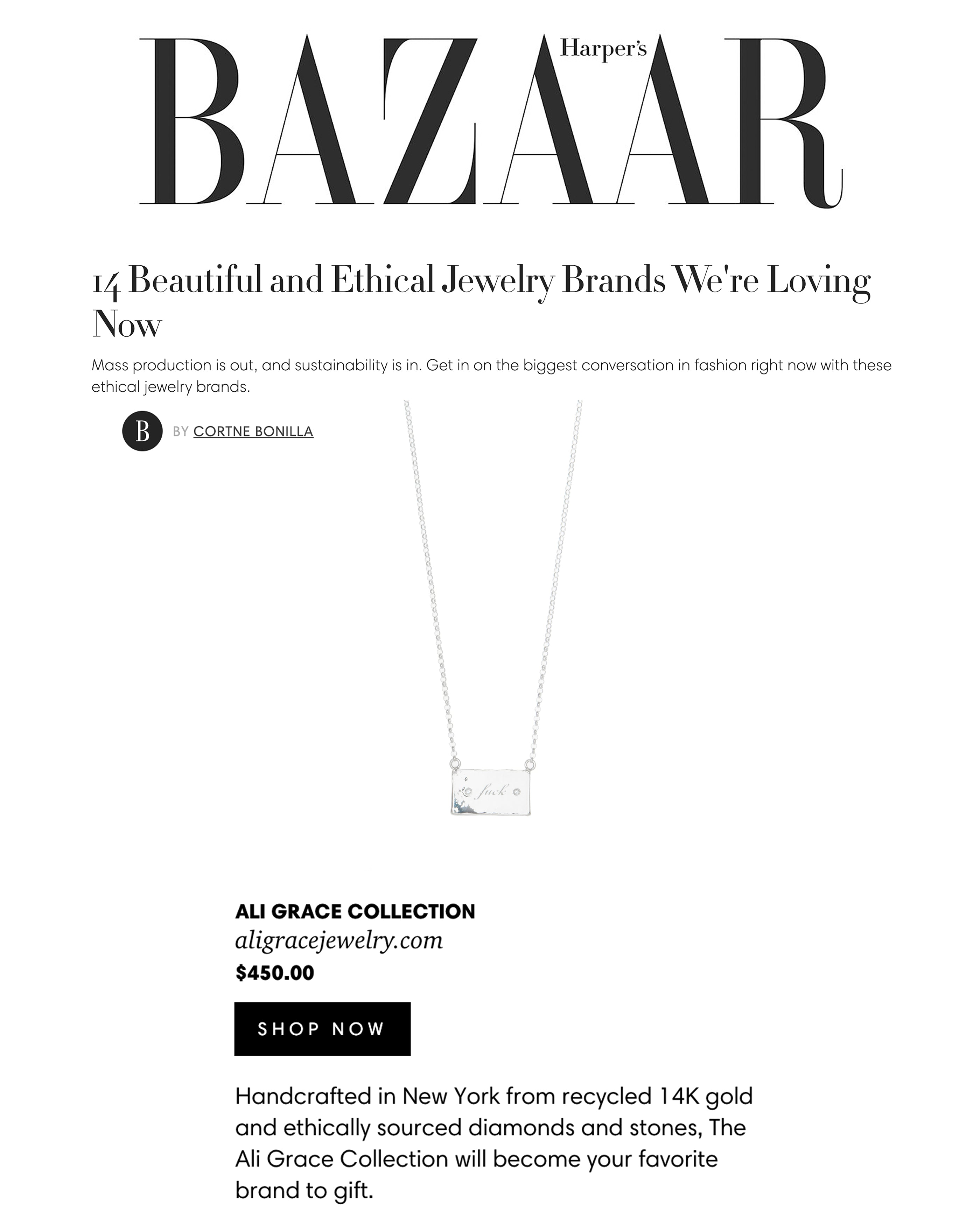 ali grace jewelry harpers bazaar sustainable gift guide jewelry ethical jewelry
