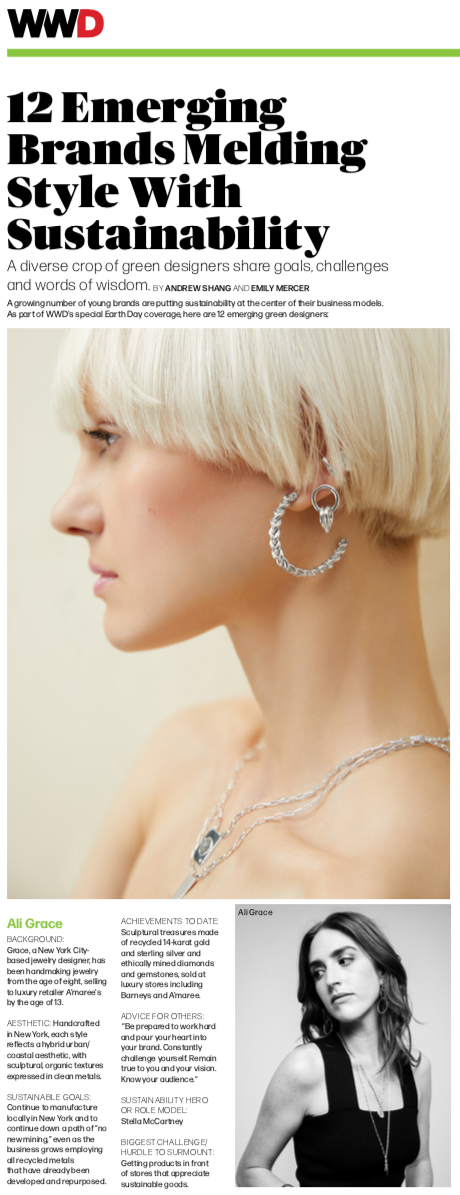 ali grace jewelry wwd cover story ethical sustainable fashion editorial