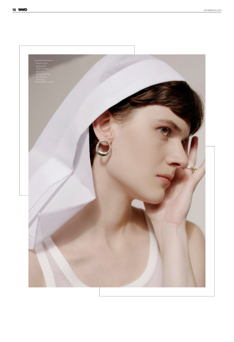 WWD fashion editorial minimal fashion style clean lines cool girl edgy style sterling silver earrings