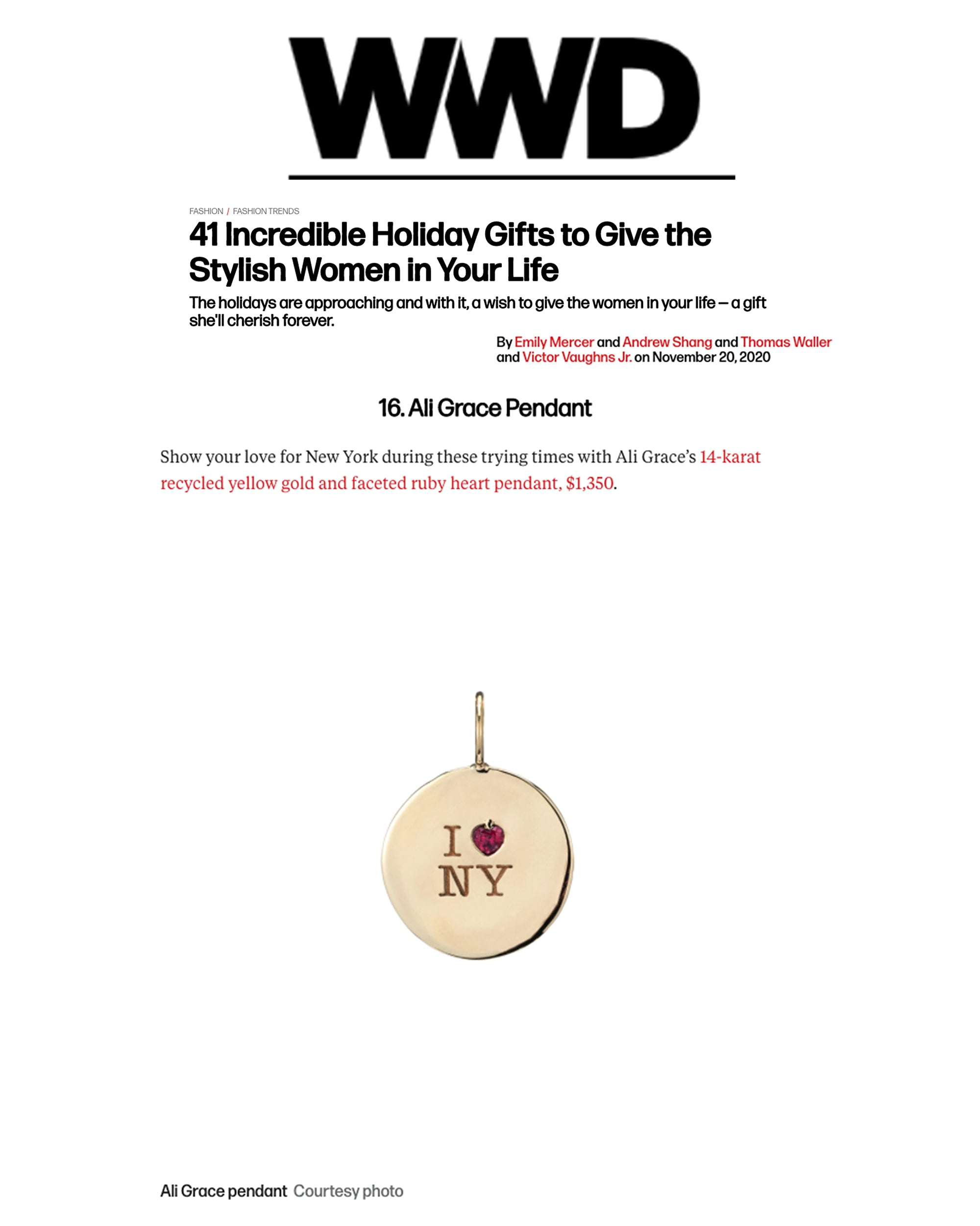 ali grace jewelry WWD Holiday Gifts to Give to the Women in Your Life sustainable fashion ethical jewelry