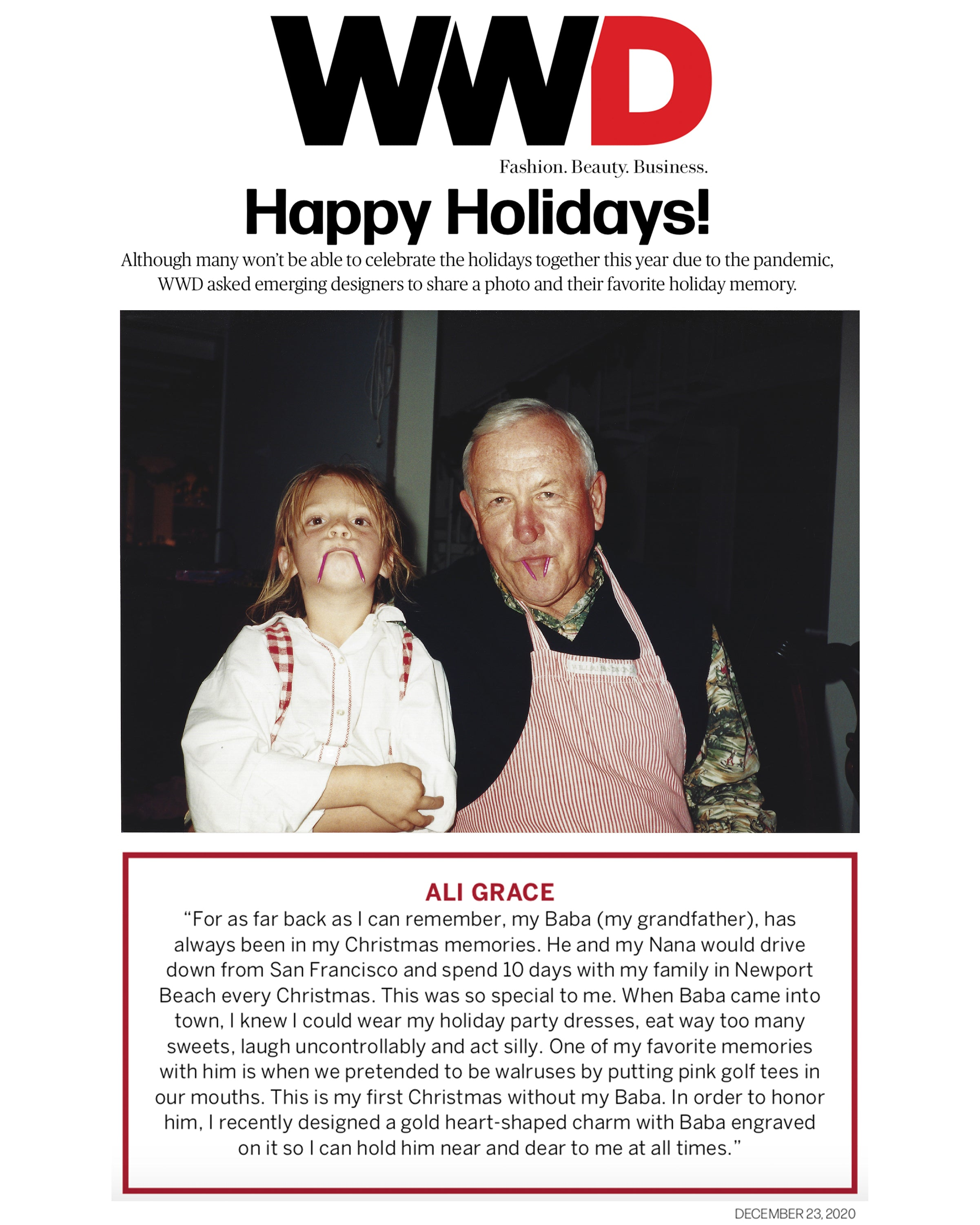 ali grace jewelry wwd holiday gift guide christmas memories sustainable fashion