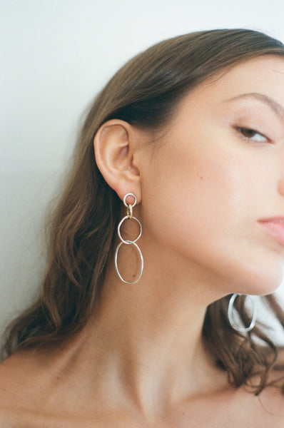 mixed metal earrings hoop loop earrings
