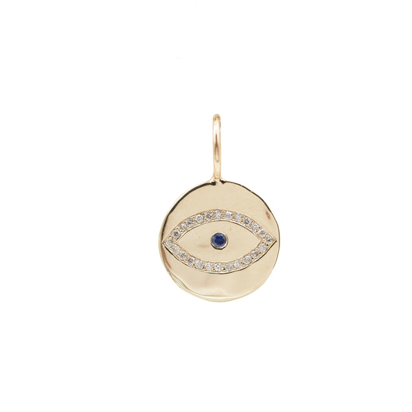 evil eye charm custom charm diamonds blue sapphire