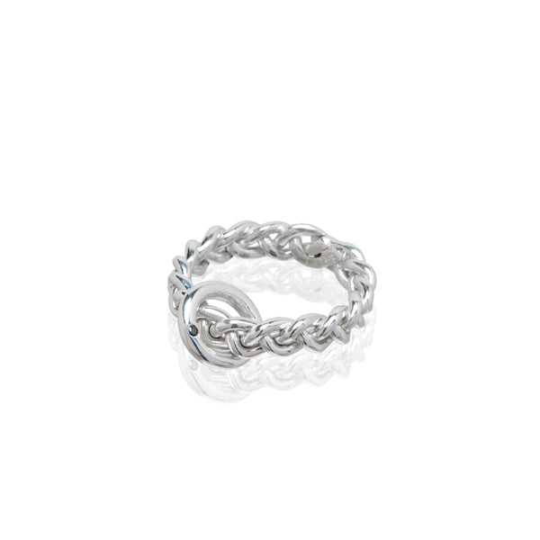 braided sterling silver ring black diamond accent
