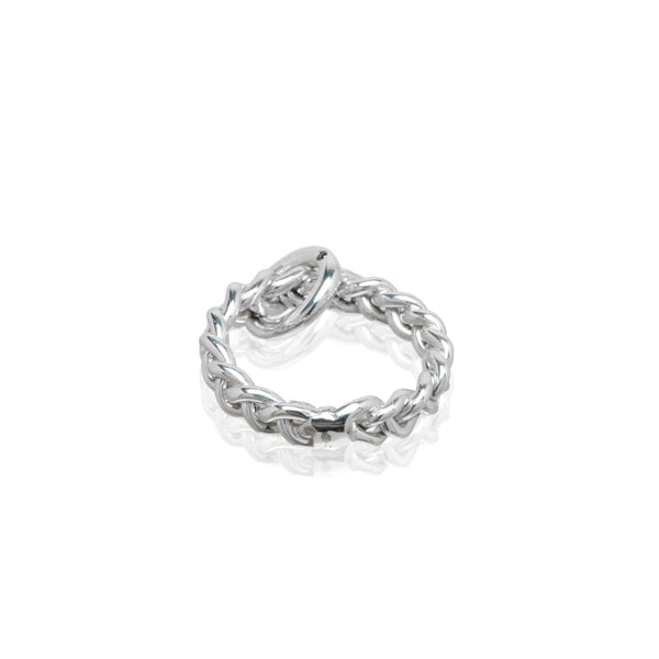 sterling silver braided ring with black diamond charm