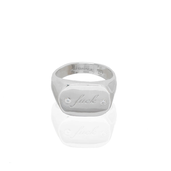 fuck jewelry signet ring diamond custom engraving handmade jewelry