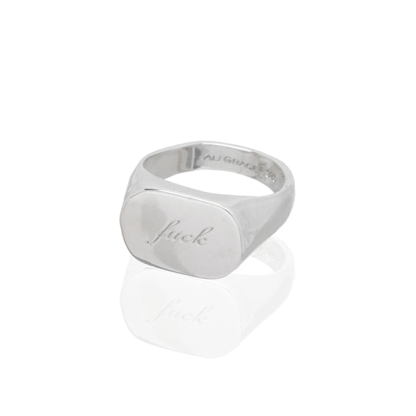 fuck signet ring sterling silver family heirloom jewelry handmade custom engraving