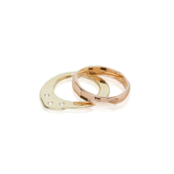 rose gold yellow gold wedding band ring diamond ring