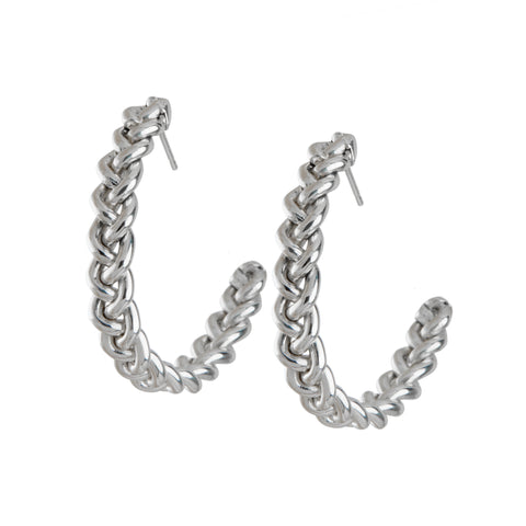 sterling silver braided hoop earrings ali grace jewelry handmade new york city