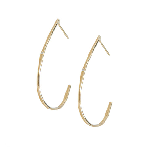 gold diamond hoop earrings fine jewelry handmade nyc