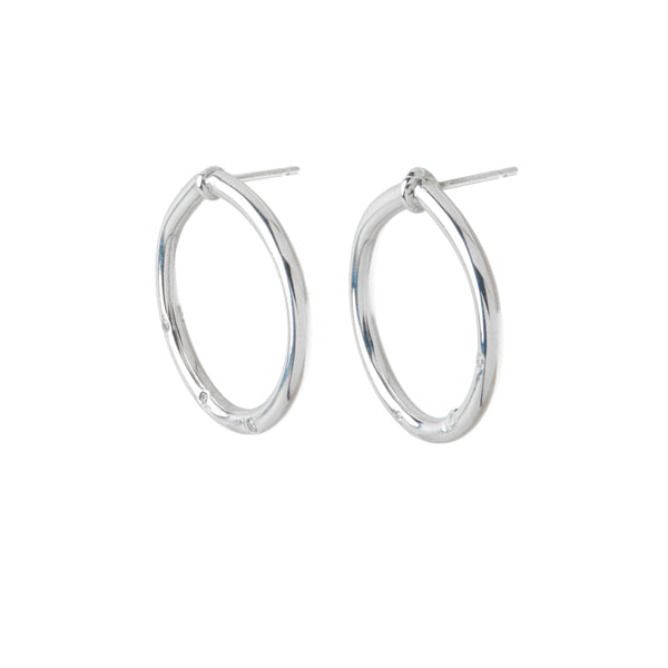 diamond sterling silver round hoop statement earrings