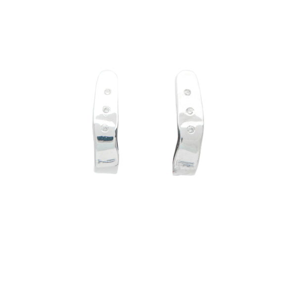 diamond sterling silver huggie earrings fine jewelry