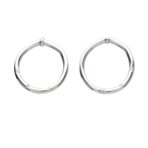 diamond sterling silver round earrings