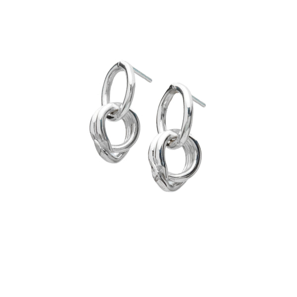 sterling silver interlocked hoop statement earrings
