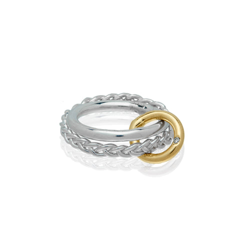 sterling silver braided gold ring diamond alternative wedding ring
