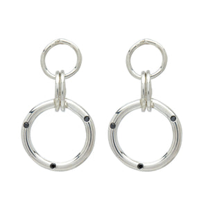 black diamond sterling silver hoop statement earrings fashion jewelry style fashion blogger