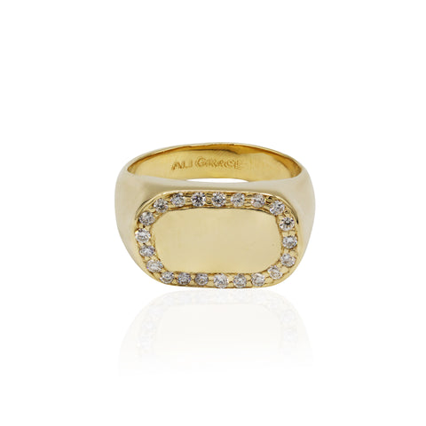 gold diamond signet ring custom design