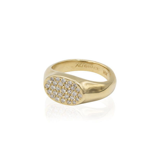 gold diamond signet ring pinky ring fine jewelry