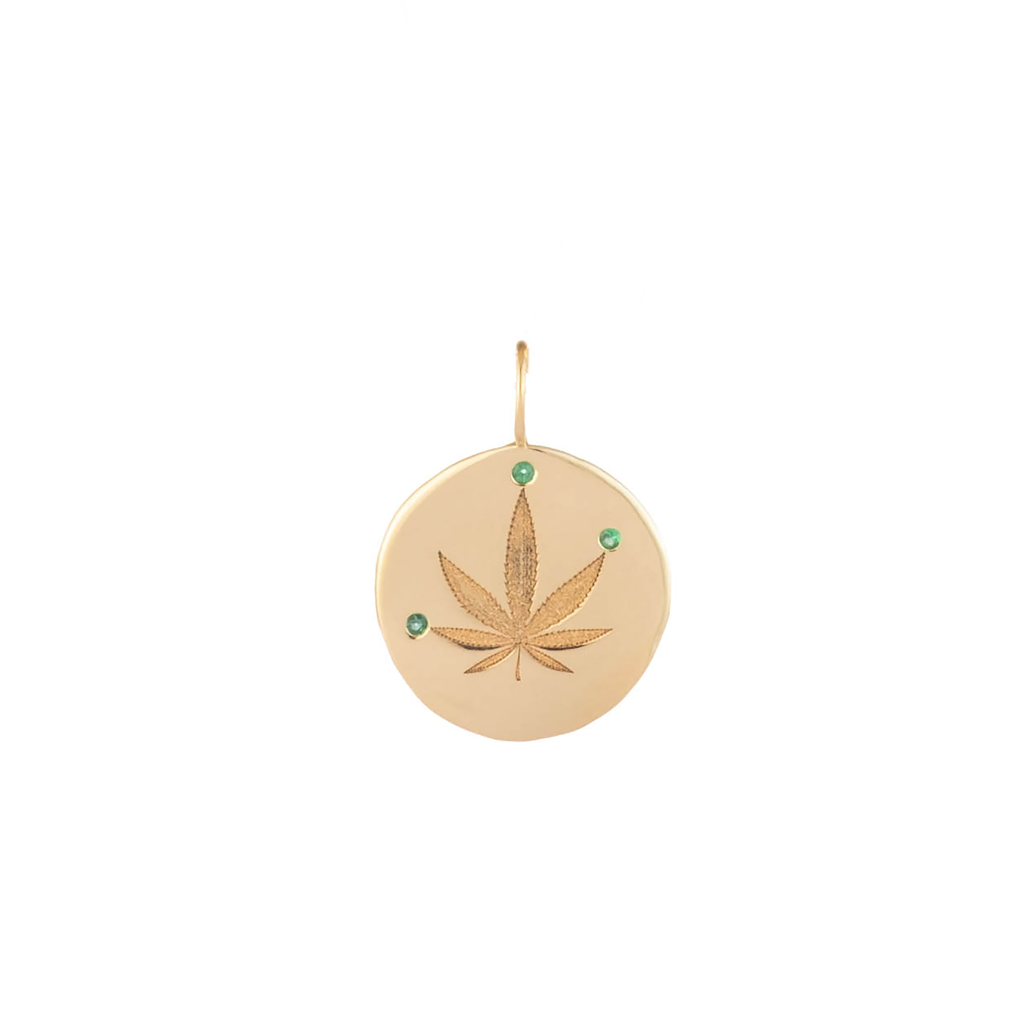 pot leaf cannabis leaf jewelry stoner jewelry gold engraved charm custom charm necklace rock n roll jewelry green day