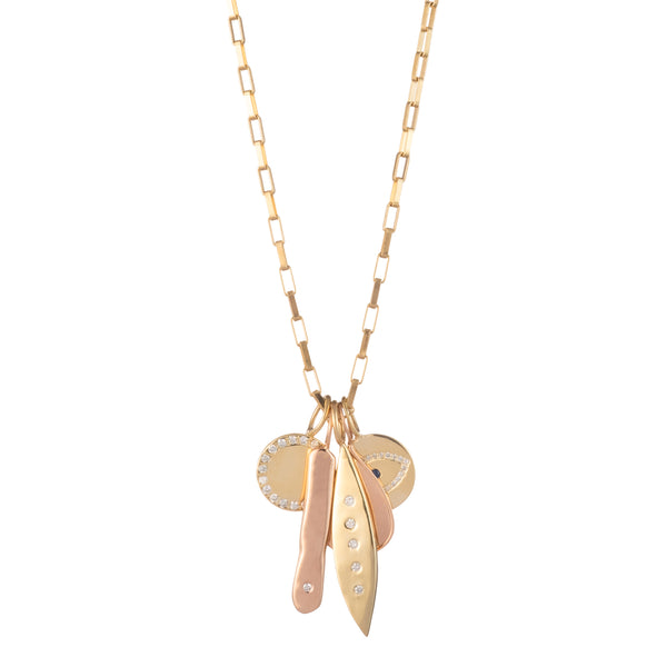 rose gold diamond charm necklace multi diamond fine jewelry charm necklace