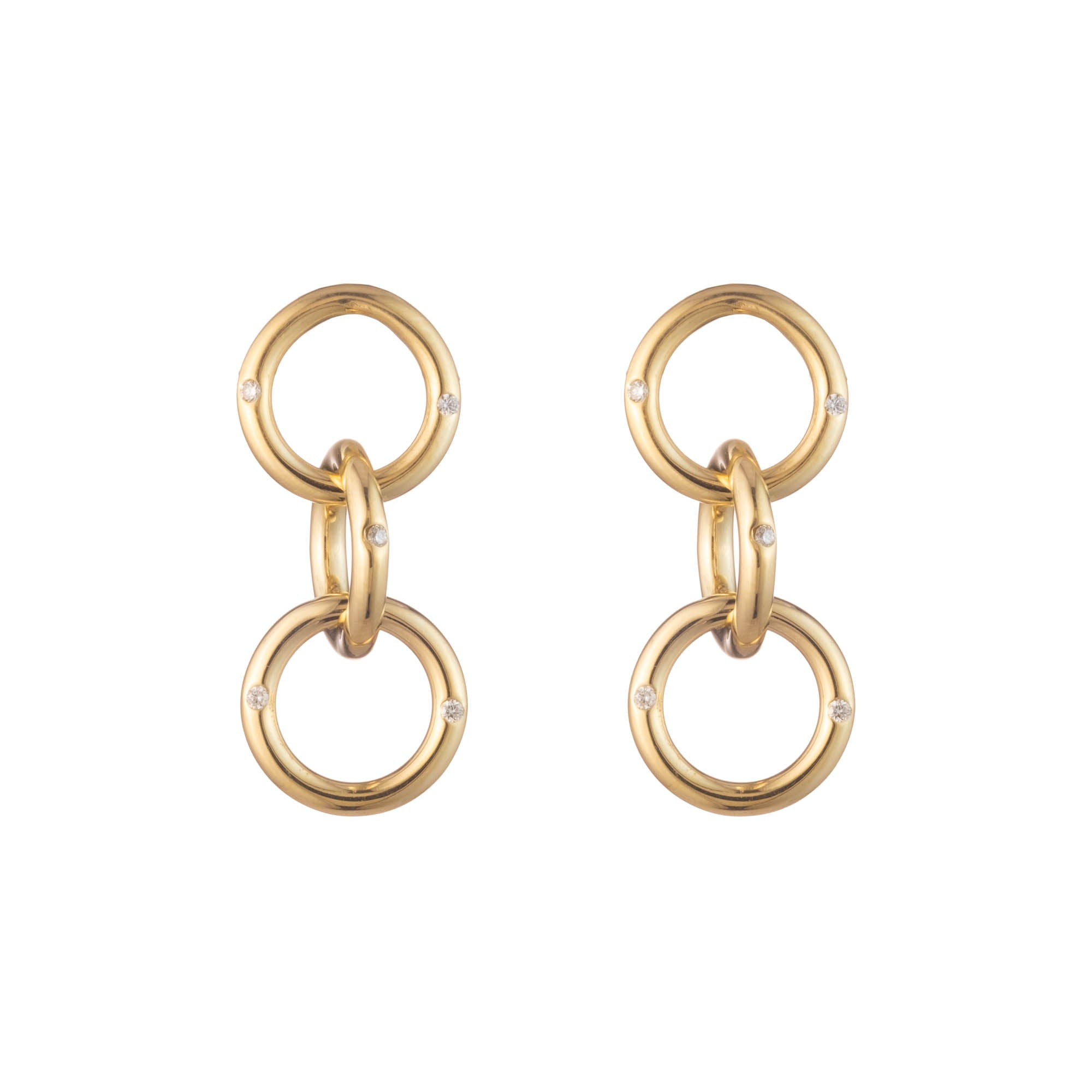 gold diamond hoop earrings interlocked earrings