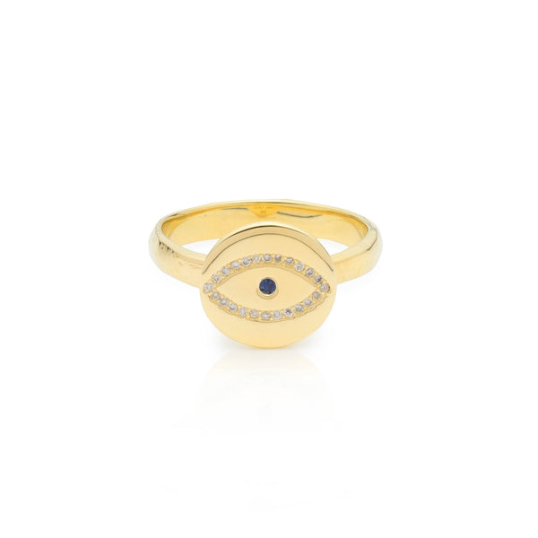 evil eye ring gold ring blue sapphire diamond ring
