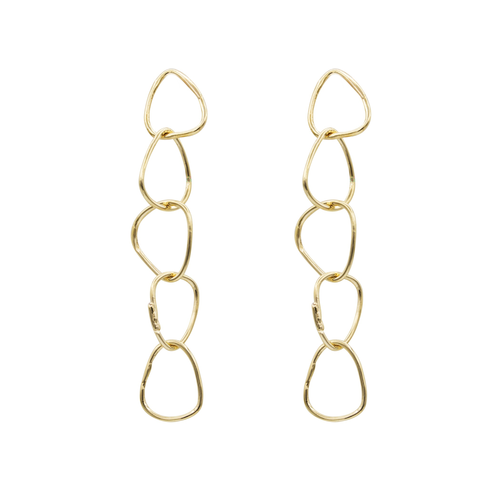 yellow gold hoop drop earrings statement earrings handmade jewelry designer nyc