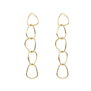 yellow gold hoop drop earrings statement earrings handmade jewelry designer nyc ali grace jewelry