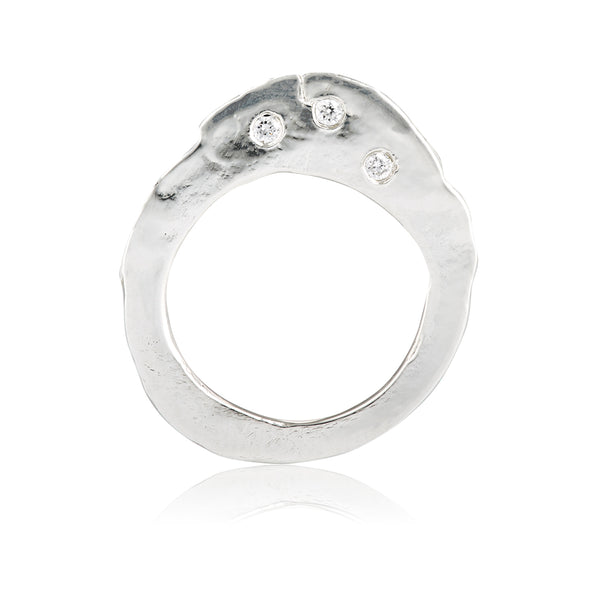Silver and Diamond Flat Stackable Ring