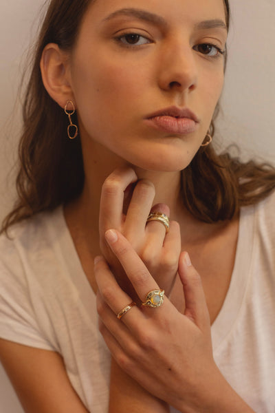 organic refined jewelry handmade in new york city opal rose gold diamond ring