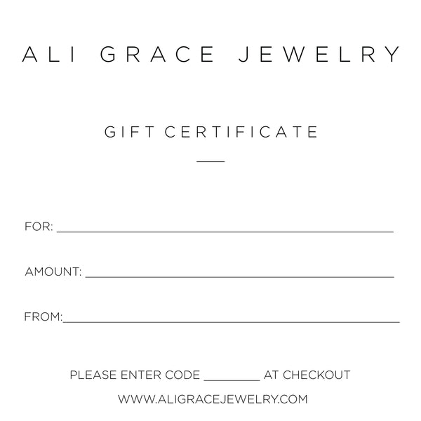 gift certificate jewelry gift card mothers day jewelry handmade gift
