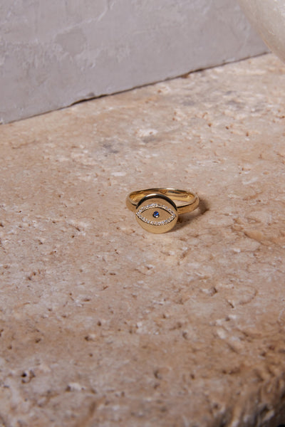 gold evil eye charm ring diamond ring alternative wedding ring