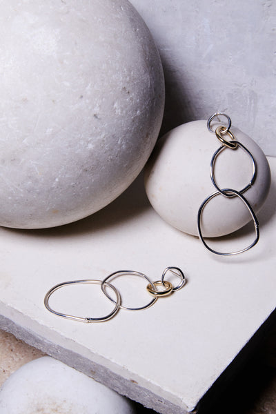 sterling silver gold mixed metal hoop earrings statment earrings rock n roll jewelry