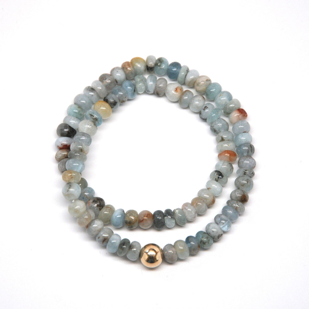 Aquamarine w/ Gold Ball Bracelet