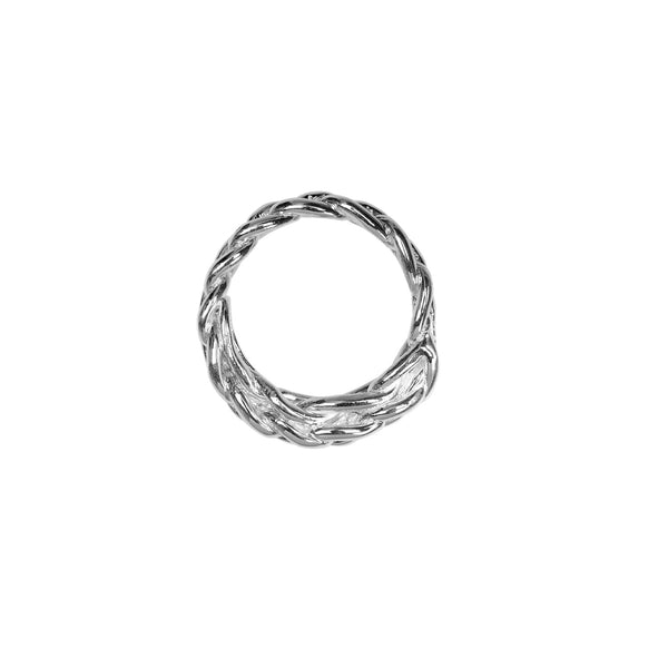braided silver ring stackable jewelry handmade new york