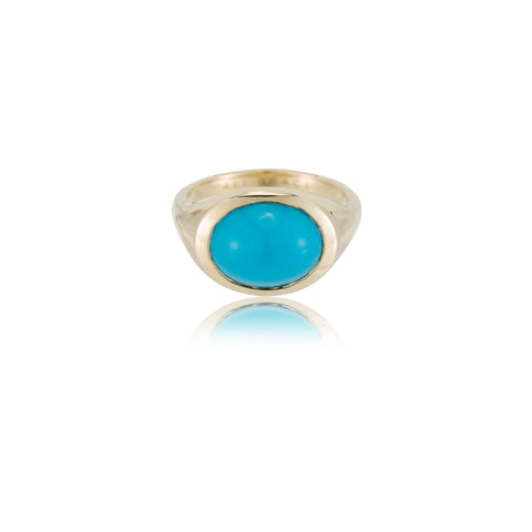 ali grace jewelry turquoise cabochon signet ring pinky ring recycled gold handmade jewelry