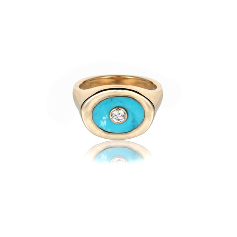 turquoise signet ring diamond ring pinky ring family heirloom