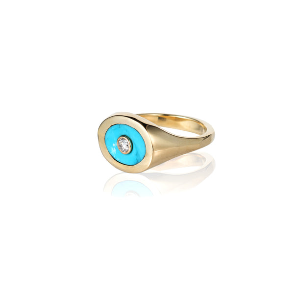 turquoise diamond signet ring chunky gold ring like retrouvai